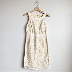 Boden White Cream Lace Midi Dress High Neck M 6